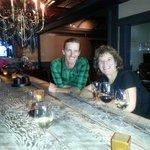 Enjoying a California wine flight — at Noir Lounge.