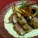 Roasted Rack of Lamb Provencal with a mustard crust