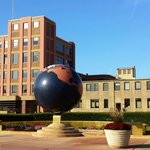 Johnson Headquarters Administration Building, the globe actually continues to spin and light up