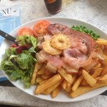 A large lunch at the Steamer Inn