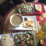 Yummy tuna melt. Excellent salads. Delicious potato soup & crackers. Chicken salad sandwich was