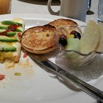 Chicken Vera Cruz omelet - with English Muffins and fruit - Fantastic!