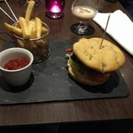 Lovely posh home made blue sauce burger