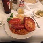 """The Polish Plate"" -- excellent!!!  Perogies, stuffed cabbage, kielbasa and sauerkraut!  Try thi"