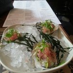 Stoney brooke oysters with watermelon ice and basil