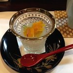 Dashi of grated turnip and dried botargo served cold