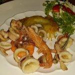 orata in crosta di patate con fritturina di pesce