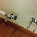 pipes on the floor next to bed, if u dont notice end up in hurting ur leg