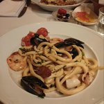 Tuscan hand-made pasta with shrimps, mussels, calamari & salsicha