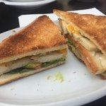 Toasted double decker sandwich chicken cheese jalapeño lettuce tomato mmmmm