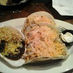 3 big soft chicken tacos, side of rice and beans