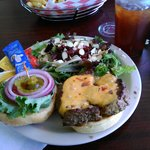 Monticello burger and side sald
