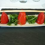 Stuffed red peppers with goat's cheese and smoked salmon