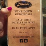 Half price wine on Wednesdays