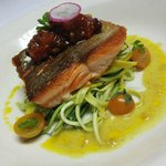Wild King, fresh zucchini noodles, curry beurre blanc