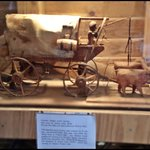 Hand Carved Replica of Wagon with Oxen