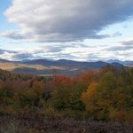 Bartlett, NH and the White Mountains seen from Bear Notch Road during foliage season