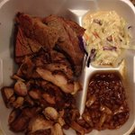 We got it to-go. Brisket, jerk chicken, cole slaw, beans
