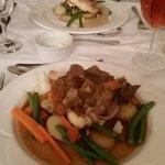 Chicken and mushroom sauce. Lamb shank