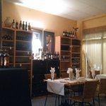 A portion of the wine collection in the smaller dining room