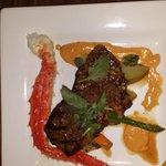 Steak with Atlantic King Crab leg and veggies