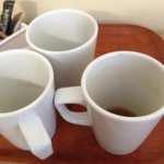 Dirty cups not cleared away in room