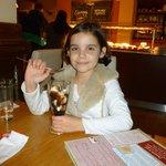 My eldest enjoying her dessert
