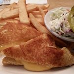 Grilled cheese sandwich and french fries. Plus Cole slaw and a pickle   Very good.