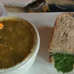 Autumn vegetable soup and turkey sandwich