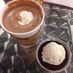 Hot Chocolate with creme fraiche & Pot of Creme.