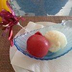 Raspberry and lemon sorbet