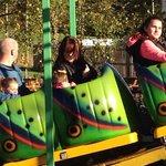 Mum and baby on caterpillar ride