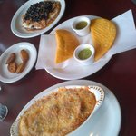 (top to bottom) Cachapas, Plantains, Empanadas, Tuna Caribbean Cake