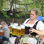Heavy beer mugs-talented waitress!!