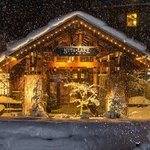 Snowy entrance to Nita Lake Lodge