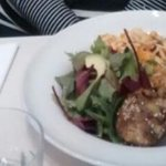 beancakes, green raw salad, butternut squash and orzo salad £9.50