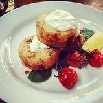 Potato & feta hash cakes with blistered tomatoes
