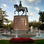 Statue of of Prince Baldomero Espartero on his horse at the Paseo del Príncipe de Vergara Plaza