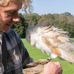 Gerard with Halo the Barn Owl