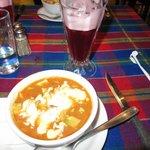 Tortilla soup and te de jamaica
