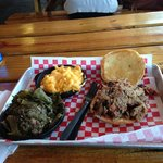 Pulled pork, Mac and Cheese, Collard Greens