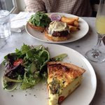 Quiche and burger