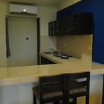 Kitchen not stocked.  No pans , cutlery, dishes or fridge. We hadn't paid for a suite so no prob