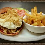 The BBQ Bacon Cheeseburger at Rosatis! BBQ, and bacon, smothered with provolone cheese and onion