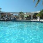 een heerlijk zwembad met bedjes er om heen