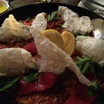 Paella with braised duck, piquillo pepper & chicharrones $36