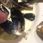 Worlds smallest mussels. A whole bowl of them.