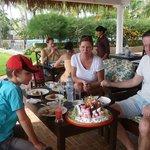 Beach bar family lunch