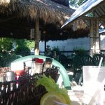 Inside the outdoor Tiki Hut.