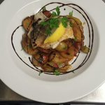 Sea bass fillet with chorizo, fennel and new potato